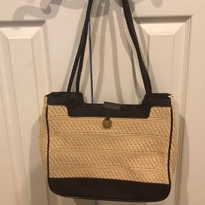 Aigner Large Woven Straw Purse w/ Braided Handles